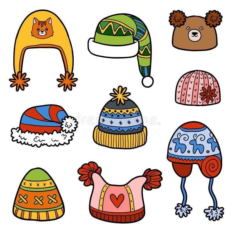 Insieme di vettore dei cappelli differenti di inverno con gli animali royalty illustrazione gratis