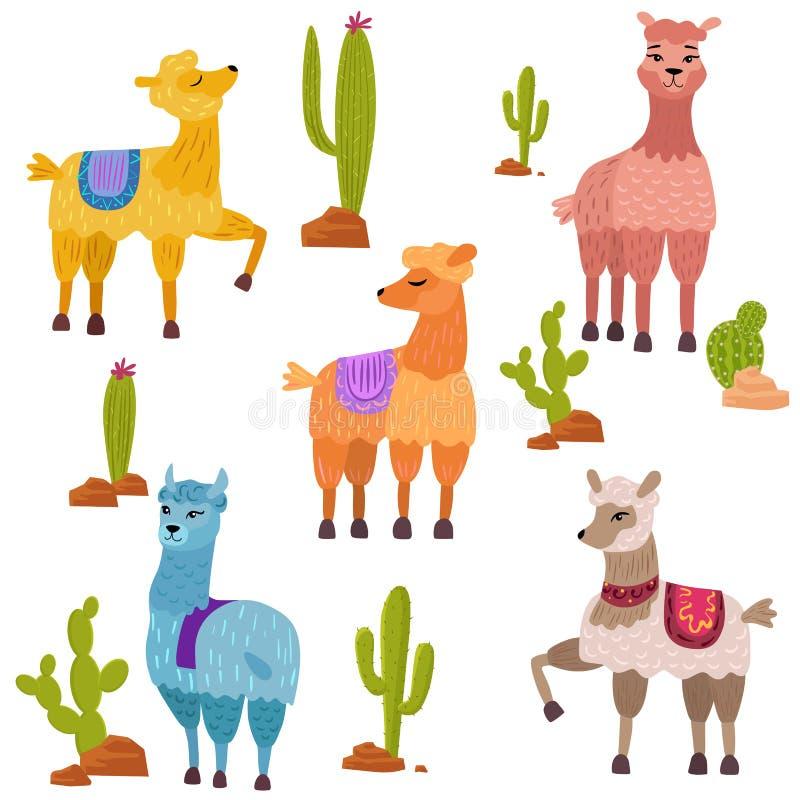 Insieme di vettore dei caratteri svegli delle lame del fumetto con il cactus illustrazione vettoriale