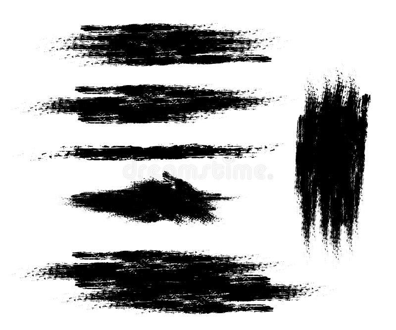 Insieme di vettore dei colpi della spazzola dell'inchiostro Elemento di progettazione su fondo bianco isolato illustrazione vettoriale