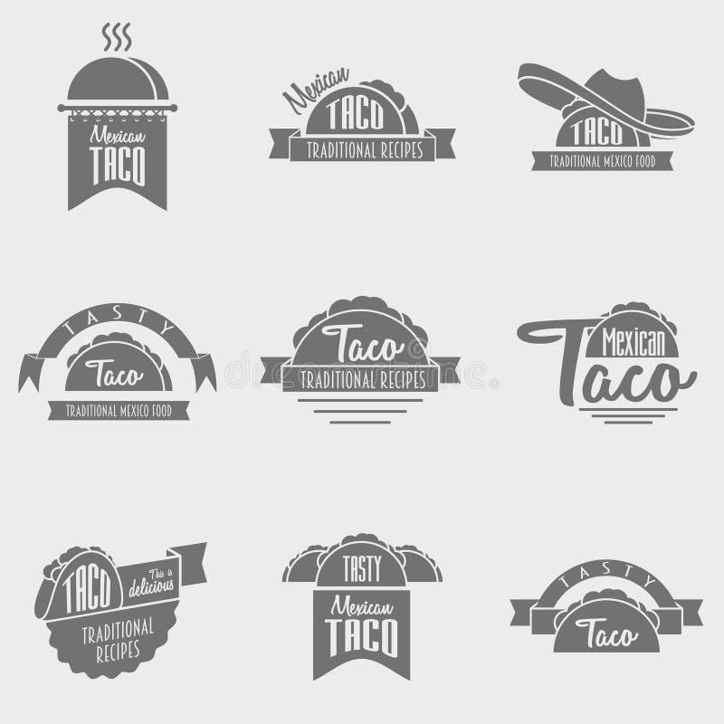 Insieme di vettore dei concetti di logo del taco illustrazione vettoriale