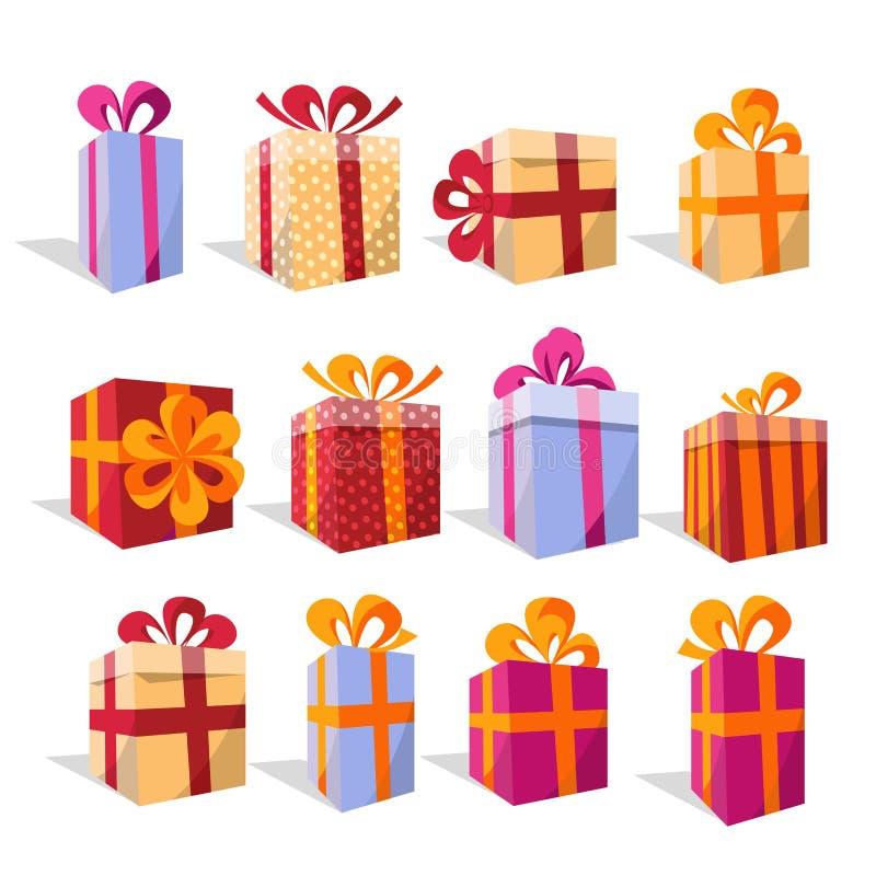 Insieme di vettore dei contenitori di regalo variopinti differenti di prospettiva Bella scatola attuale con l'arco in modo schiac royalty illustrazione gratis