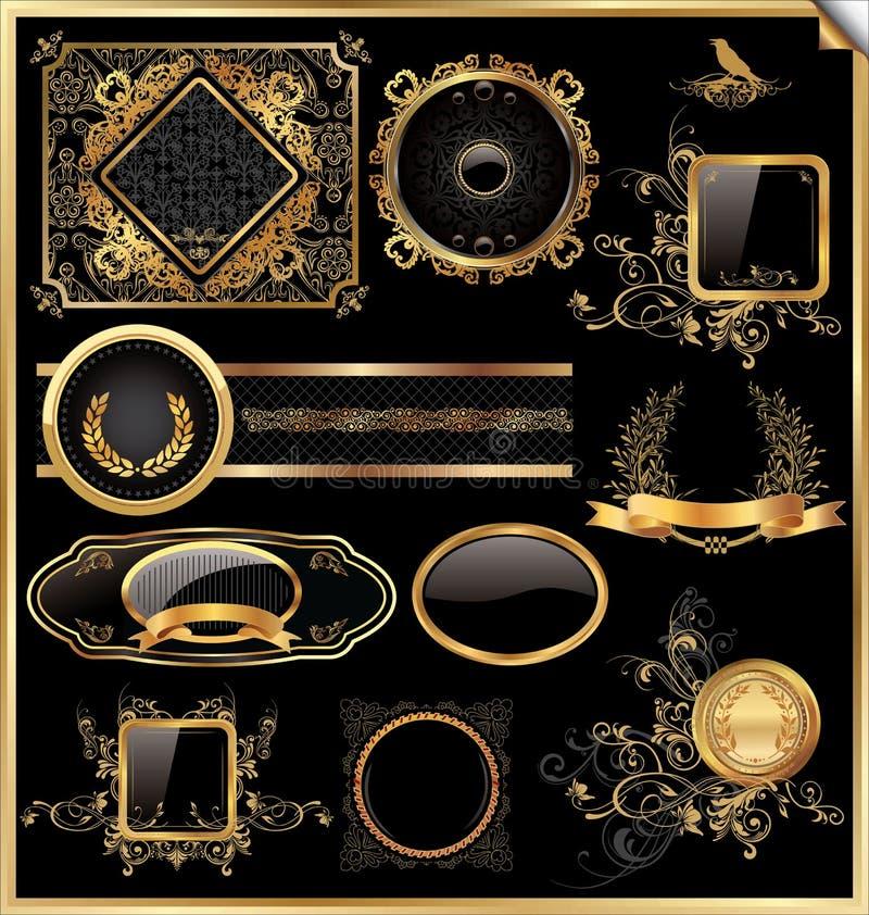 Insieme di vettore dei contrassegni dell'oro e del nero incorniciati annata illustrazione vettoriale