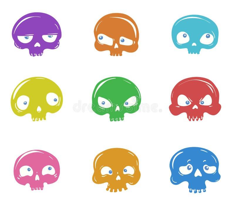 Insieme di vettore dei crani del fumetto illustrazione di stock