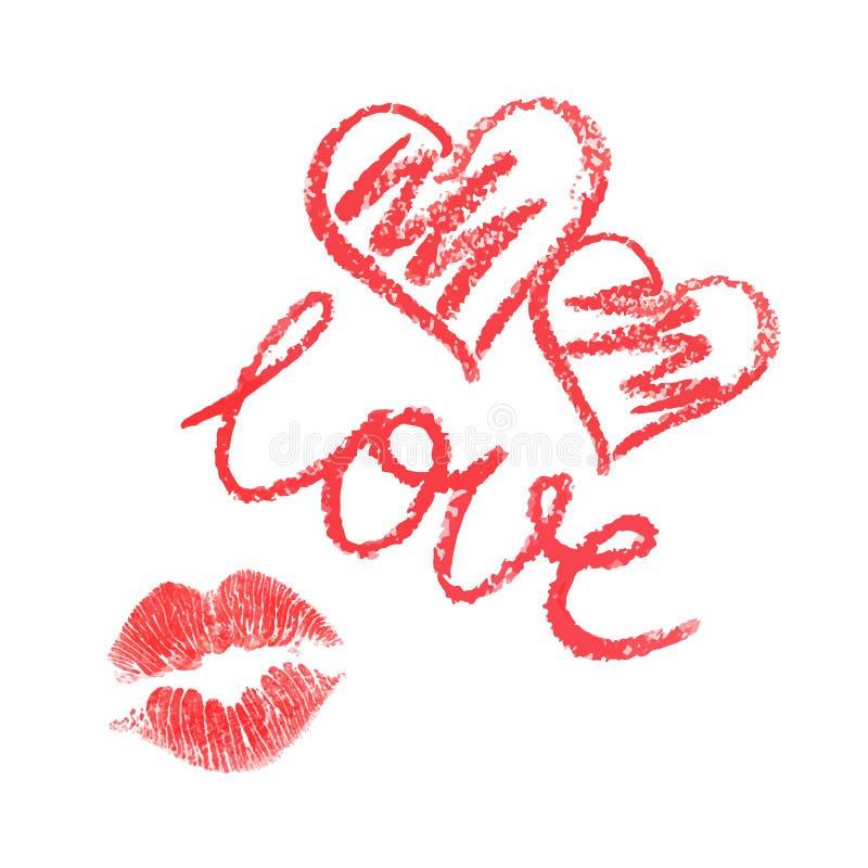 Insieme di vettore dei cuori e del bacio disegnati rossetto royalty illustrazione gratis