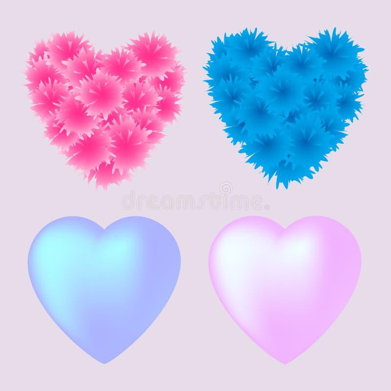 Insieme di vettore dei cuori rosa e blu per il giorno di biglietti di S. Valentino fotografia stock libera da diritti