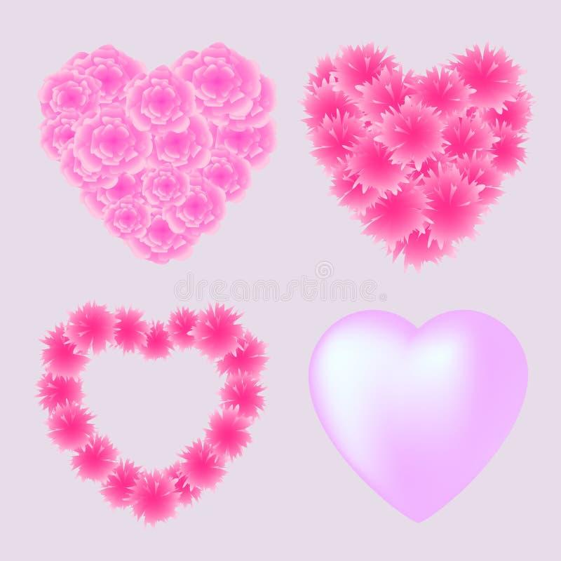 Insieme di vettore dei cuori rosa per il giorno di biglietti di S. Valentino fotografie stock