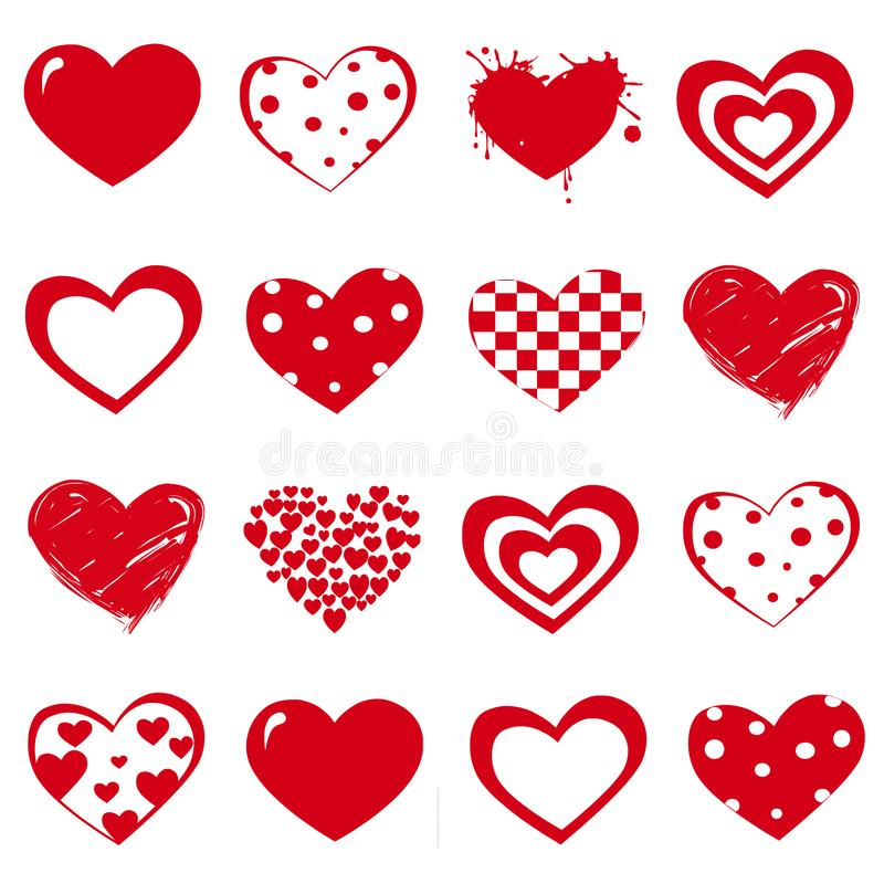 Insieme di vettore dei cuori rossi di giorno del ` s del biglietto di S. Valentino su fondo bianco royalty illustrazione gratis