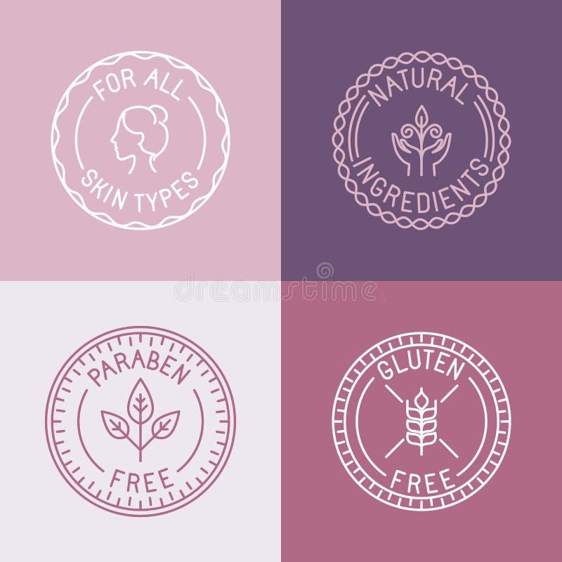Insieme di vettore dei distintivi e degli emblemi nello stile lineare d'avanguardia illustrazione vettoriale