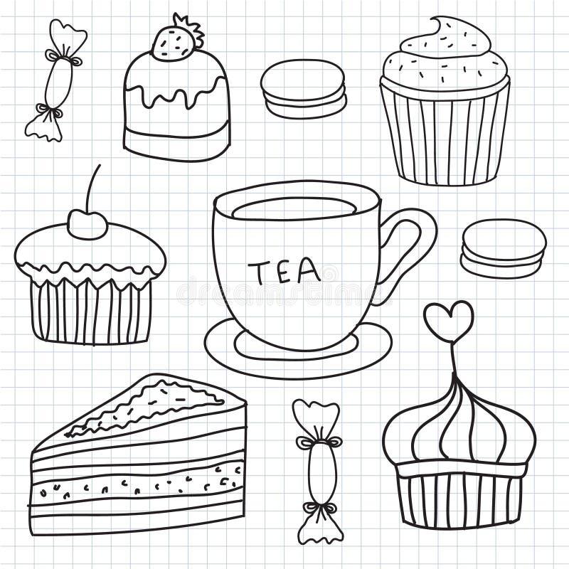 Insieme di vettore dei dolci disegnati a mano, dolci, tazza di tè illustrazione di stock