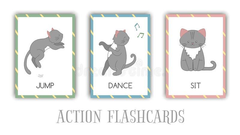 Insieme di vettore dei flash card di azioni con il gatto illustrazione vettoriale