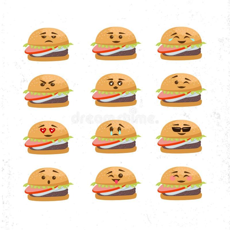 Insieme di vettore dei fronti differenti dell'hamburger royalty illustrazione gratis