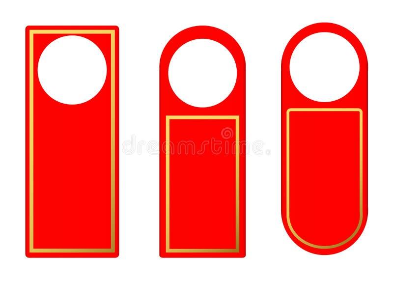 Insieme di vettore dei ganci di plastica rossi della serratura della maniglia di porta della carta in bianco illustrazione di stock