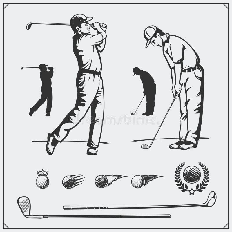 Insieme di vettore dei giocatori di golf e degli elementi di golf royalty illustrazione gratis