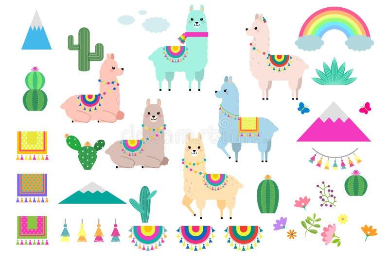 Insieme di vettore dei lama, dell'alpaca e degli elementi svegli della raccolta del cactus illustrazione di stock