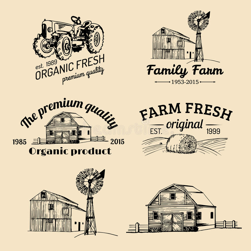 Insieme di vettore dei logotypes freschi dell'azienda agricola Bio- raccolta dei distintivi dei prodotti La mano d'annata ha schi royalty illustrazione gratis