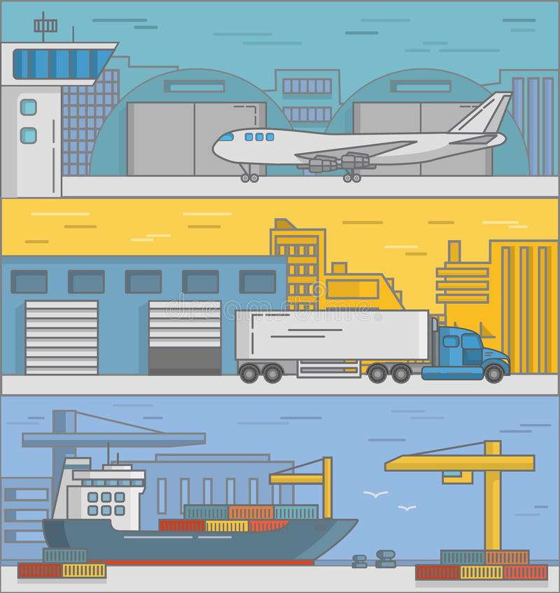 Insieme di vettore dei manifesti di consegna, insegne nello stile piano illustrazione vettoriale
