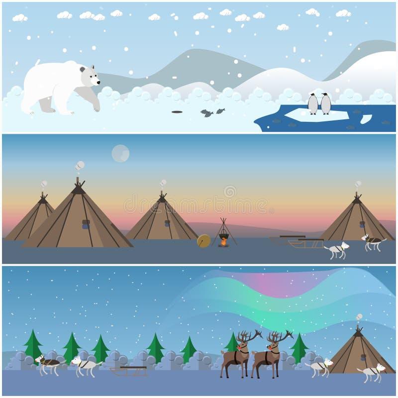 Insieme di vettore dei manifesti del nord selvaggi del paesaggio nello stile piano illustrazione di stock