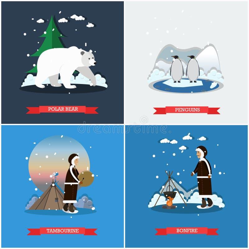 Insieme di vettore dei manifesti del nord selvaggi, insegne nello stile piano royalty illustrazione gratis