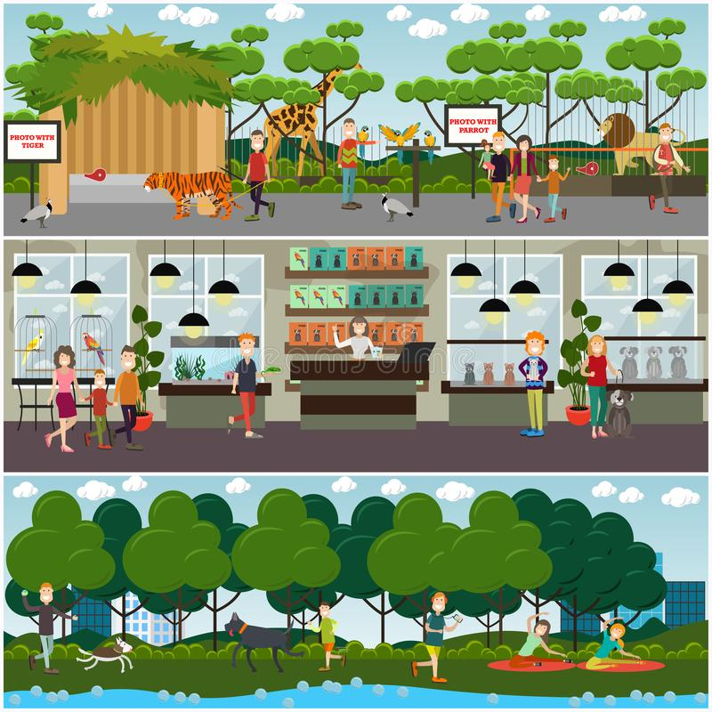 Insieme di vettore dei manifesti piani degli animali dello zoo e degli animali domestici, insegne royalty illustrazione gratis