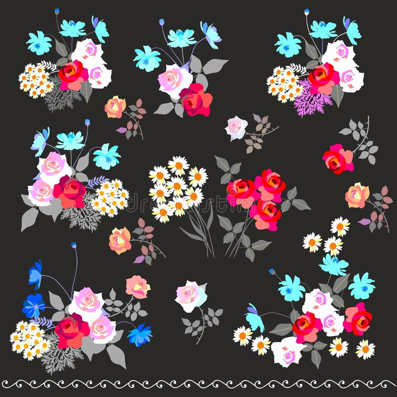 Insieme di vettore dei mazzi di fiori del giardino, isolati su fondo nero Elementi di disegno royalty illustrazione gratis