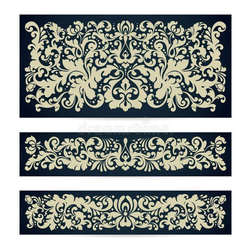 Insieme di vettore dei modelli con il fondo d'annata del damasco del modello della composizione ornamentale nella decorazione per royalty illustrazione gratis