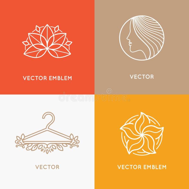 Insieme di vettore dei modelli e degli emblemi di progettazione di logo illustrazione vettoriale
