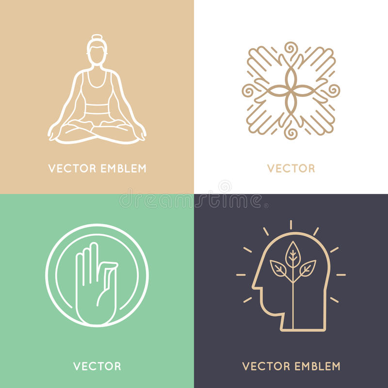 Insieme di vettore dei modelli e dei simboli astratti di progettazione di logo illustrazione vettoriale