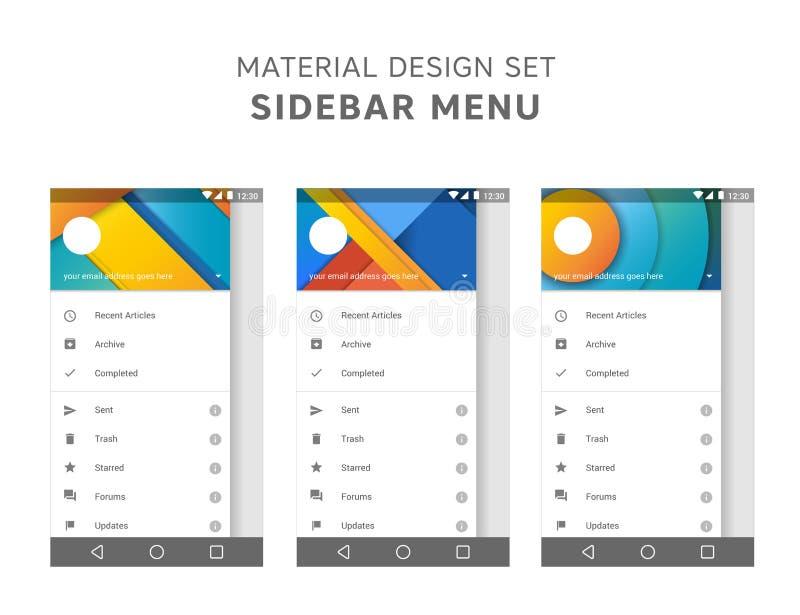 Insieme di vettore dei modelli materiali del menu della barra laterale di progettazione Elementi di ui dell'agente della posta Pr illustrazione di stock