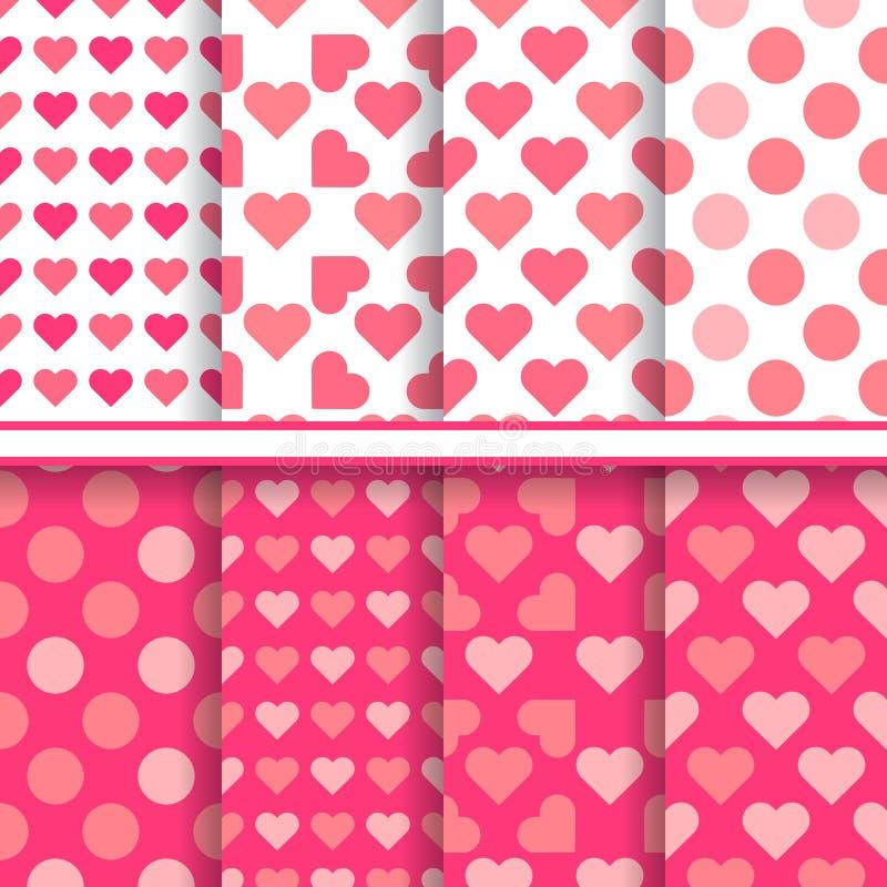 Insieme di vettore dei modelli romantici senza cuciture di amore illustrazione di stock
