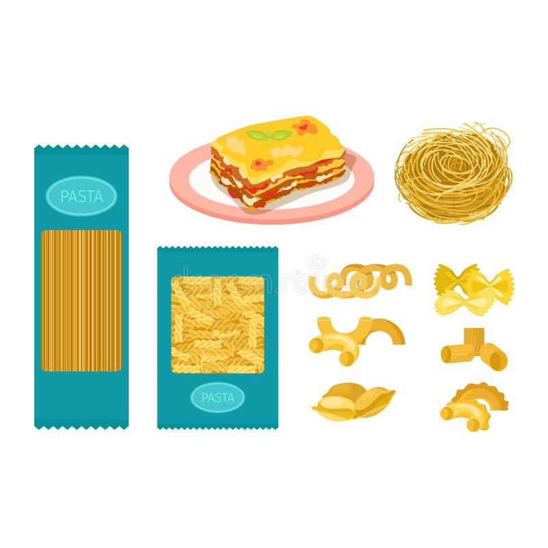 Insieme di vettore dei prodotti della pasta illustrazione di stock