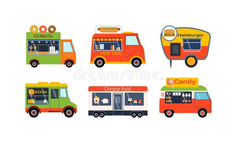 Insieme di vettore dei rimorchi del camion dell'alimento illustrazione vettoriale