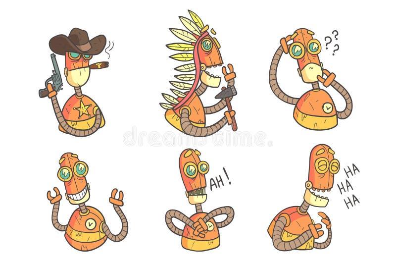 Insieme di vettore dei robot divertenti nello stile del profilo con il materiale di riempimento variopinto Androide arancio con d illustrazione vettoriale