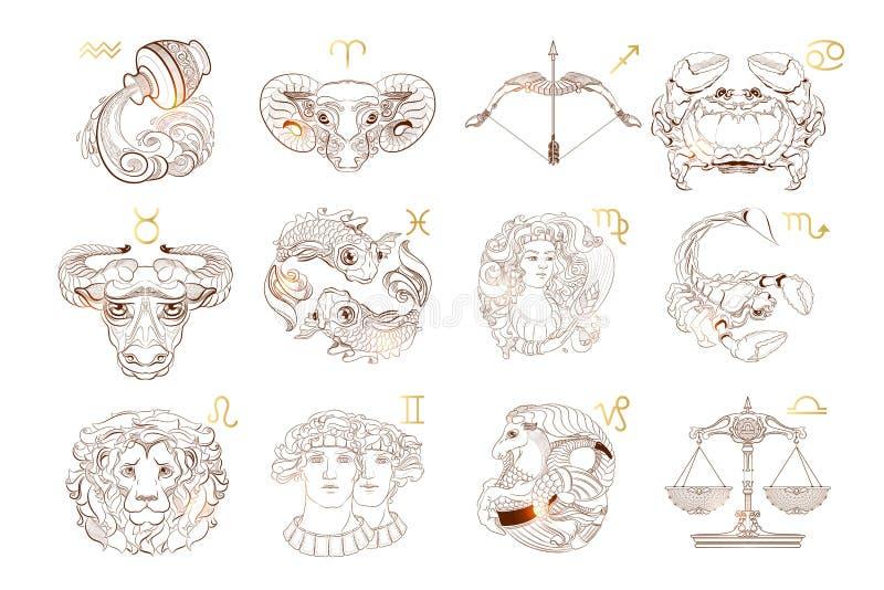 Insieme di vettore dei segni dello zodiaco del profilo Illustrazione di vettore illustrazione di stock
