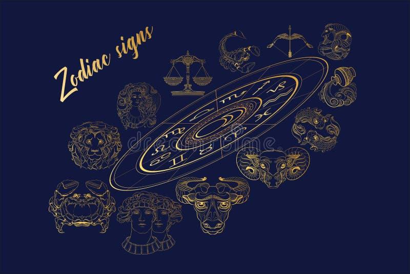 Insieme di vettore dei segni dorati dello zodiaco del profilo Illustrazione di vettore illustrazione vettoriale