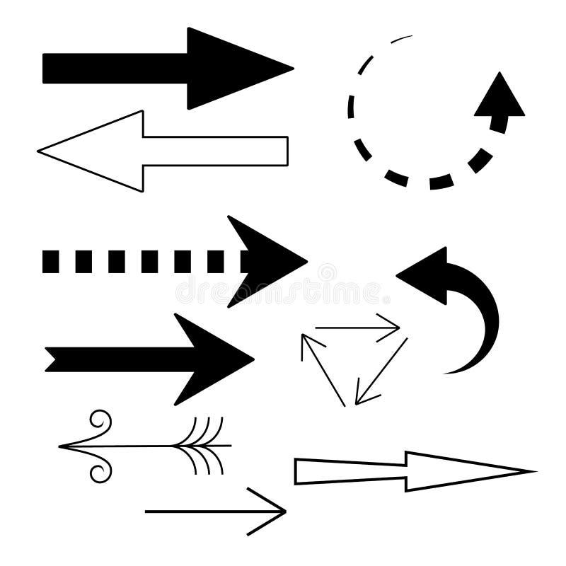 Insieme di vettore dei simboli in bianco e nero delle frecce in una forma differente immagine stock libera da diritti