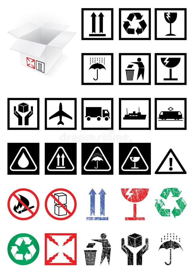 Insieme di vettore dei simboli e dei contrassegni dell'imballaggio. illustrazione vettoriale