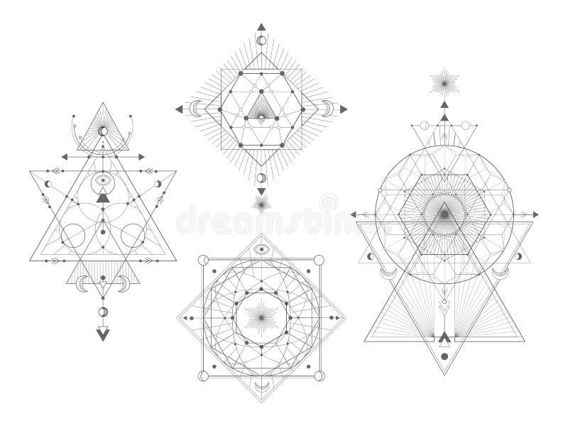Insieme di vettore dei simboli geometrici sacri su fondo bianco Raccolta mistica astratta dei segni illustrazione di stock