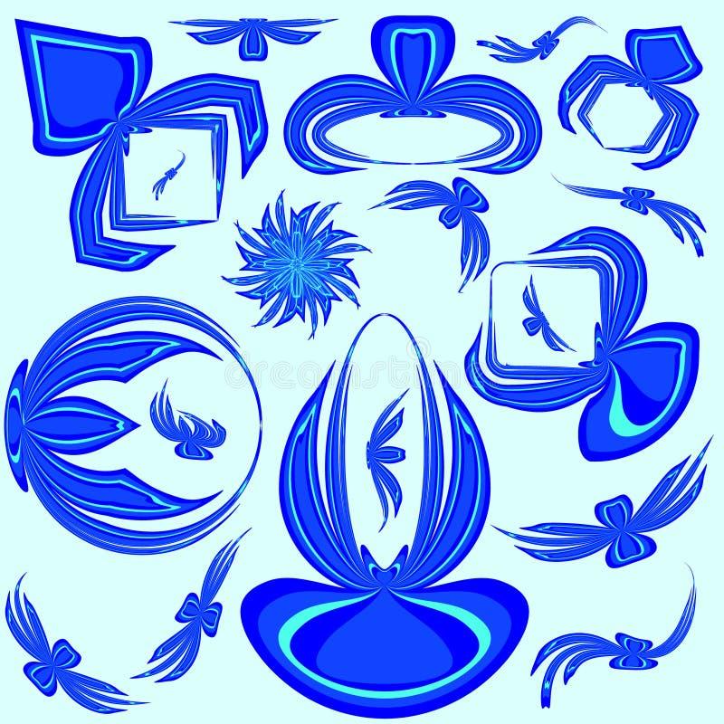 Insieme di vettore dei telai blu dagli archi per progettazione o gli annunci del testo per la b illustrazione di stock
