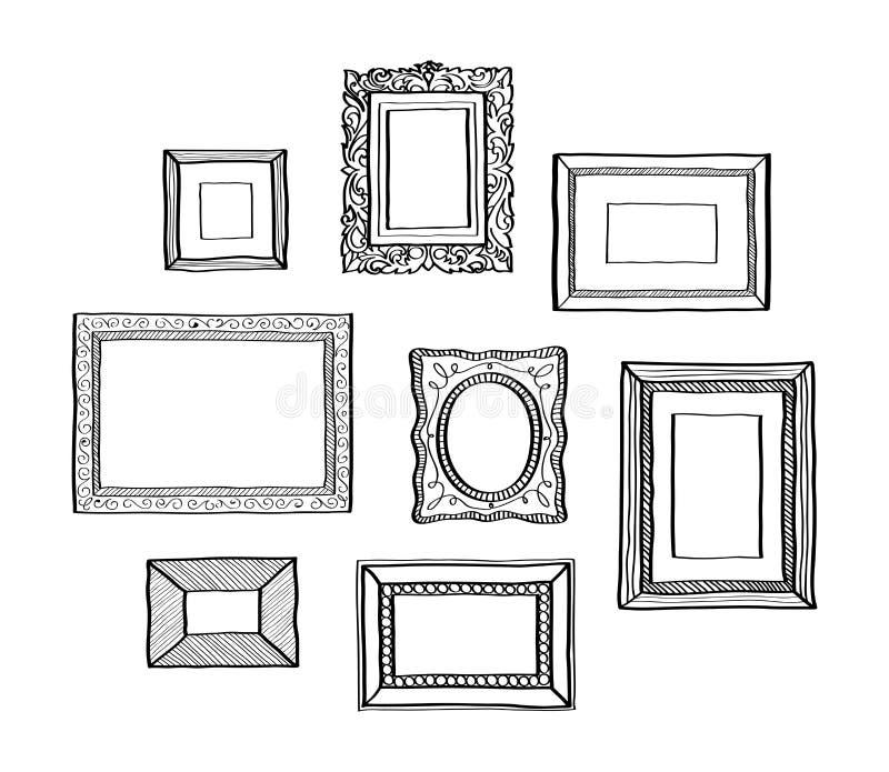 Insieme di vettore dei telai d'annata della foto, dello stile disegnato a mano di scarabocchio, dell'ornamentale antico e dei tel immagine stock
