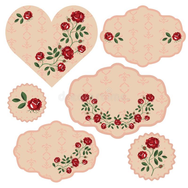 Insieme di vettore dei telai floreali illustrazione di stock