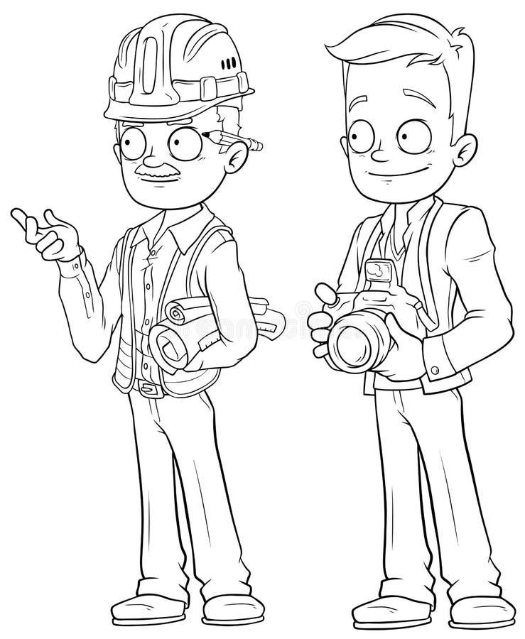 Insieme di vettore del carattere dell'ingegnere e del fotografo del fumetto illustrazione vettoriale