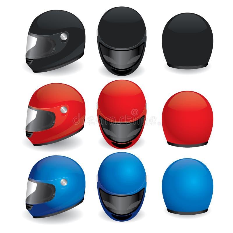 Insieme di vettore del casco del motociclo royalty illustrazione gratis