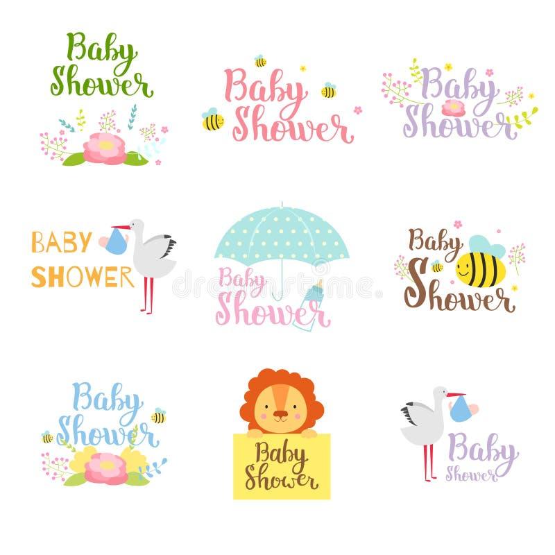 Insieme di vettore del distintivo della doccia di bambino illustrazione di stock