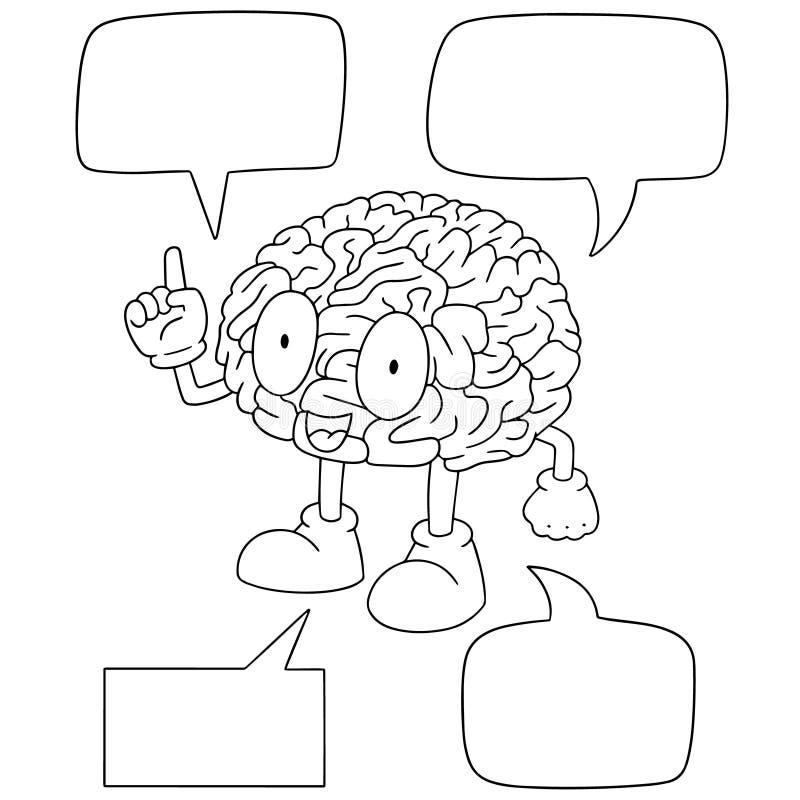 Insieme di vettore del fumetto del cervello illustrazione vettoriale