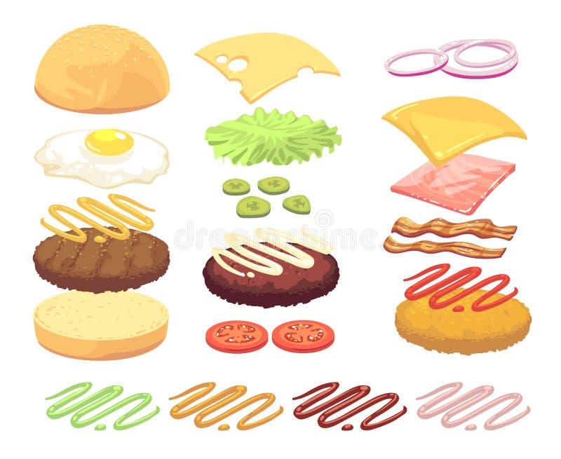 Insieme di vettore del fumetto degli ingredienti alimentari dell'hamburger e del panino illustrazione di stock