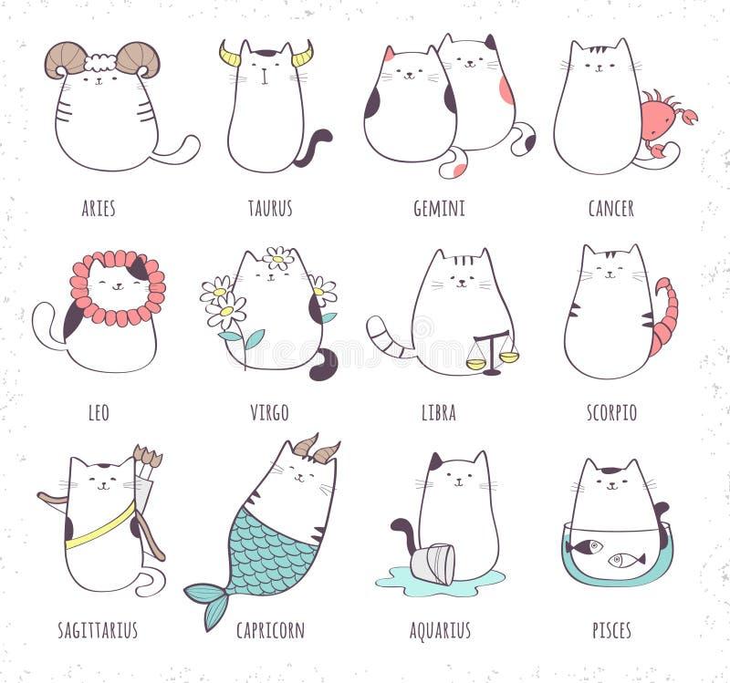 Insieme di vettore del gatto sveglio dello zodiaco del fumetto illustrazione vettoriale