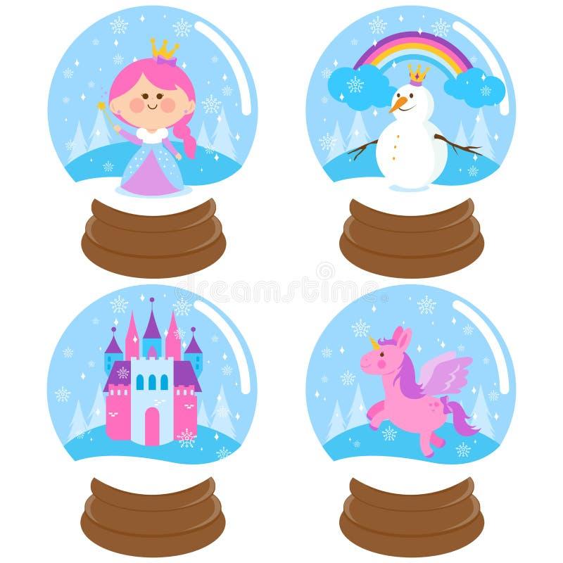 Insieme di vettore del globo della neve di fiaba royalty illustrazione gratis