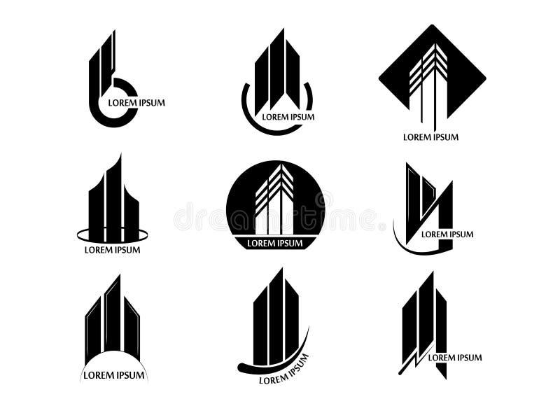 Insieme di vettore del logo astratto della torre della costruzione del bene immobile su fondo bianco illustrazione vettoriale