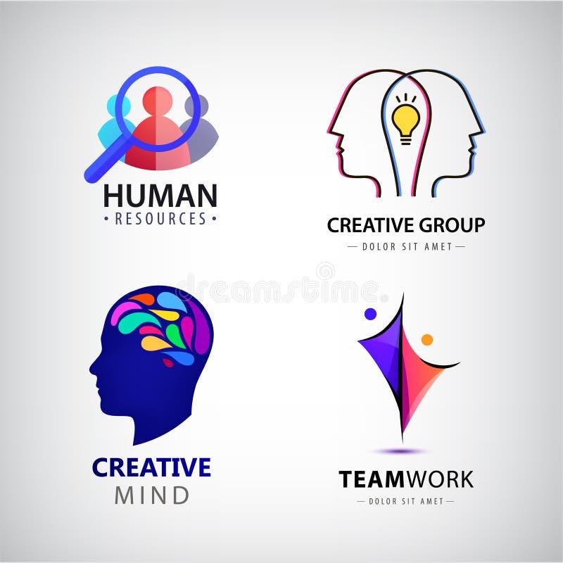 Insieme di vettore del logo dell'uomo, gruppo creativo, ora illustrazione vettoriale