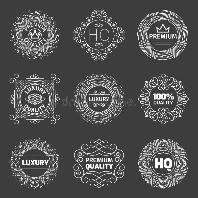 Insieme di vettore del logo di lusso Emblemi premio di qualità illustrazione di stock